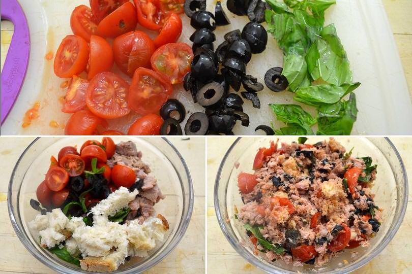 2 tagliare pomodorini e olive