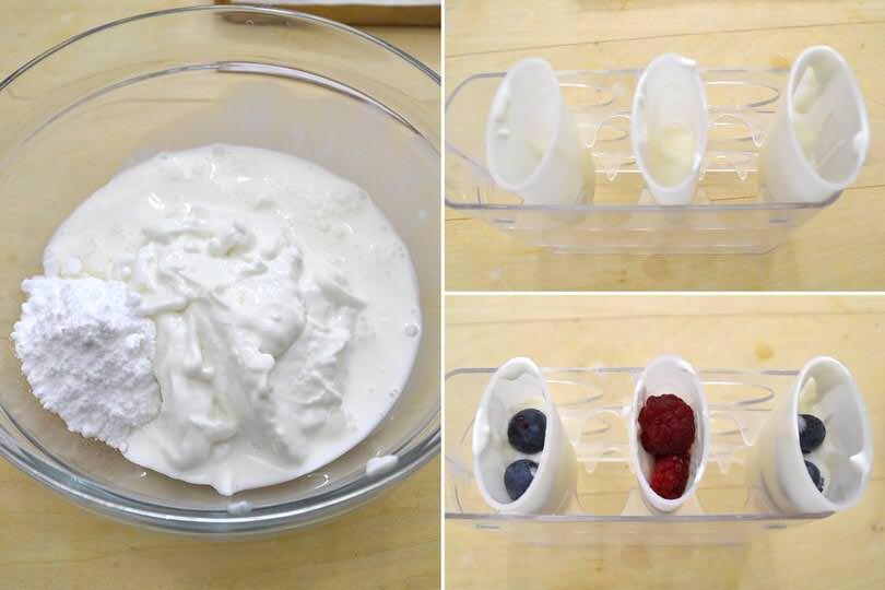 1 impastare yogurt e zucchero a velo