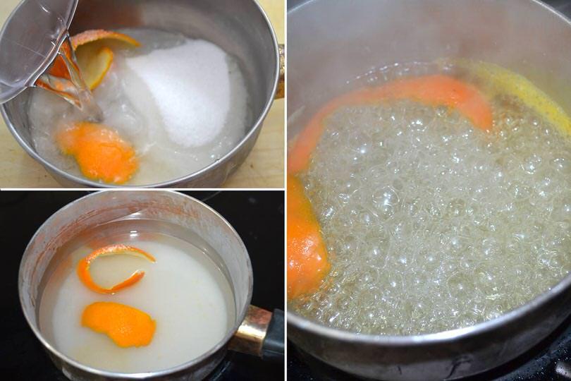 1 sciroppo con bucce arancia