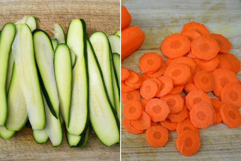 1 tagliare carote e zucchine