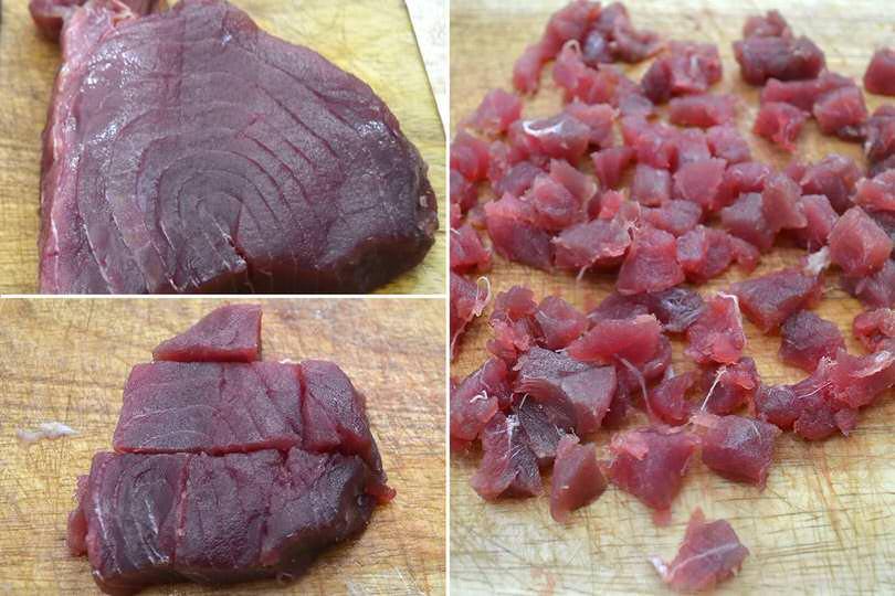 1 tagliare il tonno