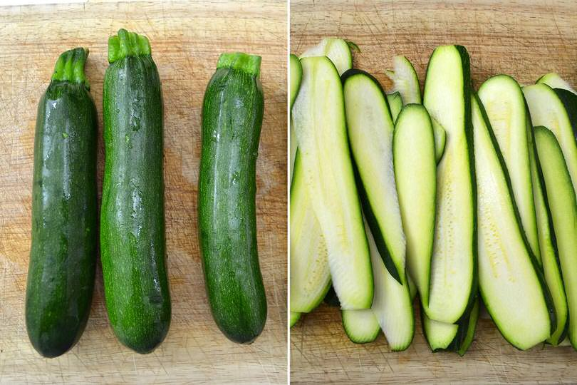 1 tagliare zucchine a fette