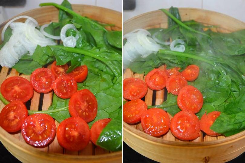 3 cuocere spinaci e pomodorini