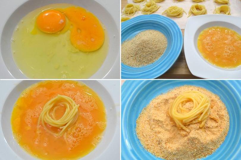 3 passare nel uovo e pangrattato