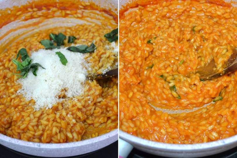 4 aggiungere parmigiano e mantecare