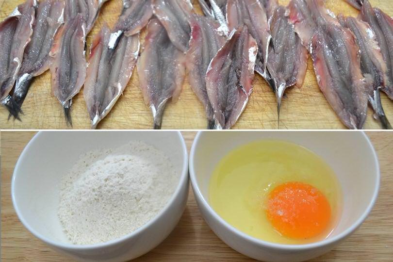 1 pulire alici e preparare farina uova