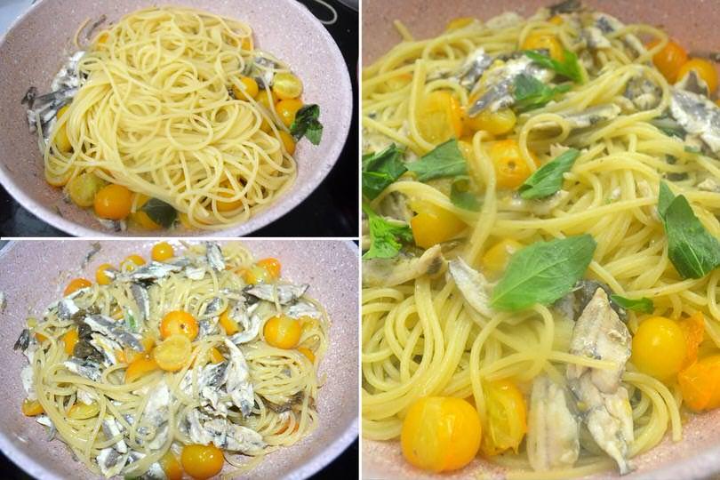4 spaghetti in padella