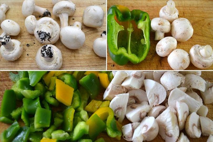 7 tagliare funghi e peperoni