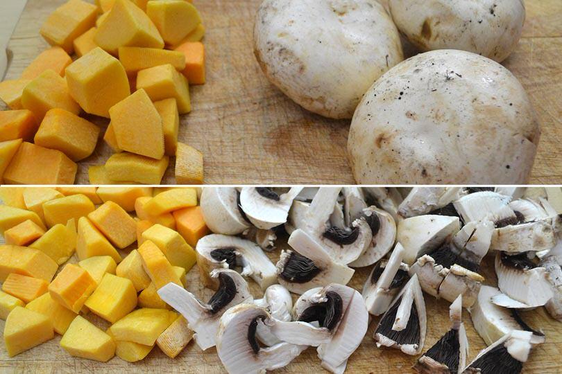 1 tagliare zucca e funghi