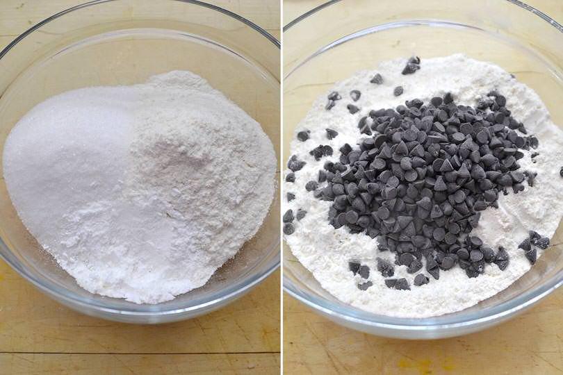 2 farina e gocce cioccolata