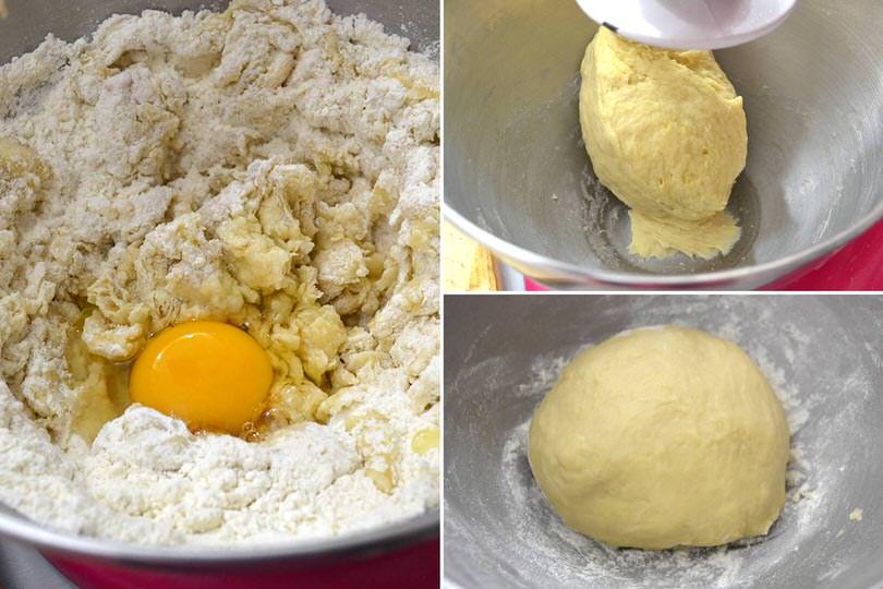 3 aggiungere uova e impastare