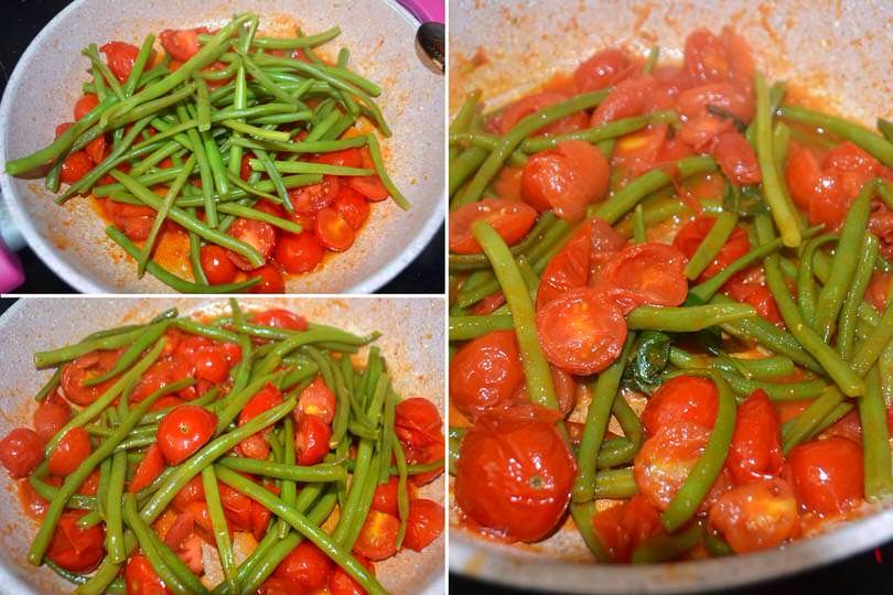 3 fagiolini e pomodorini in padella