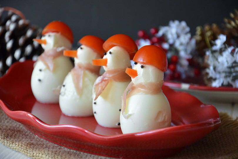 Antipasti Di Natale Divertenti.Pupazzi Di Neve Con Uova
