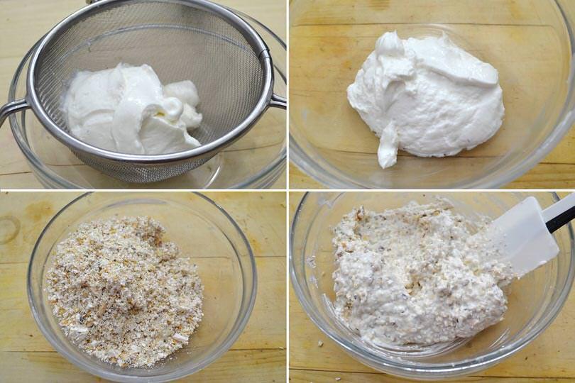 2 mescolare torrone e yogurt