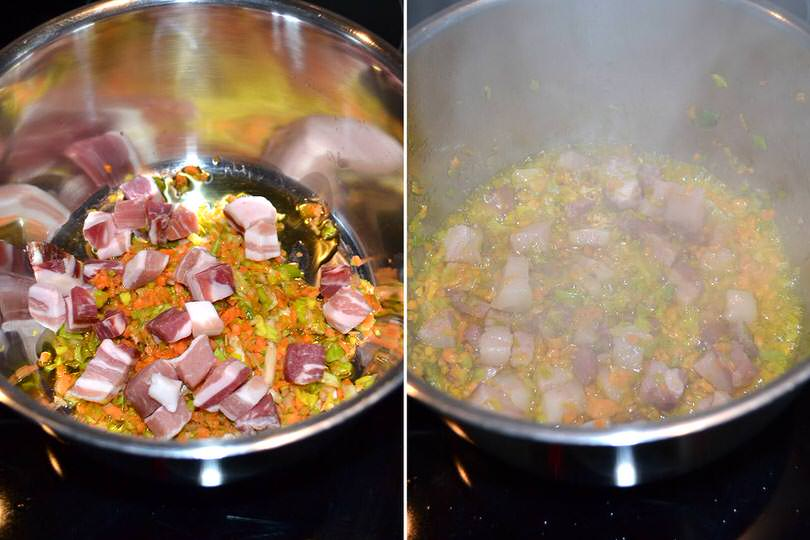 1 soffriggere pancetta