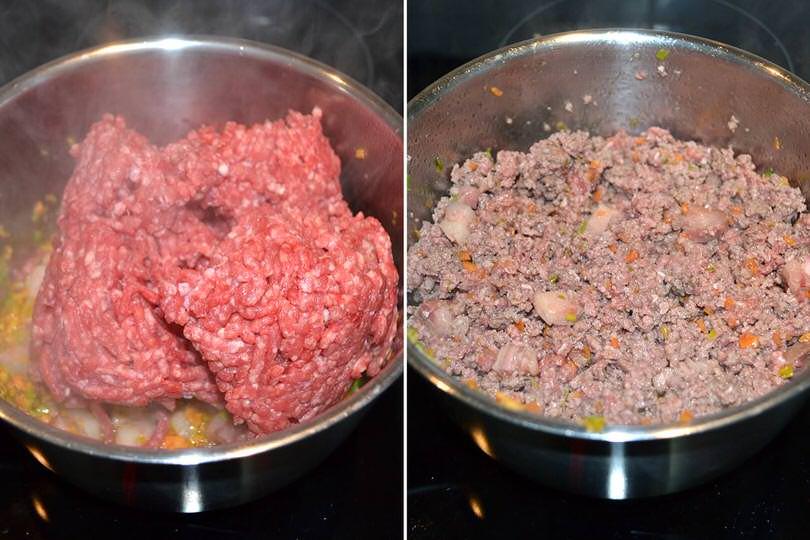 2 aggiungere carne macinata