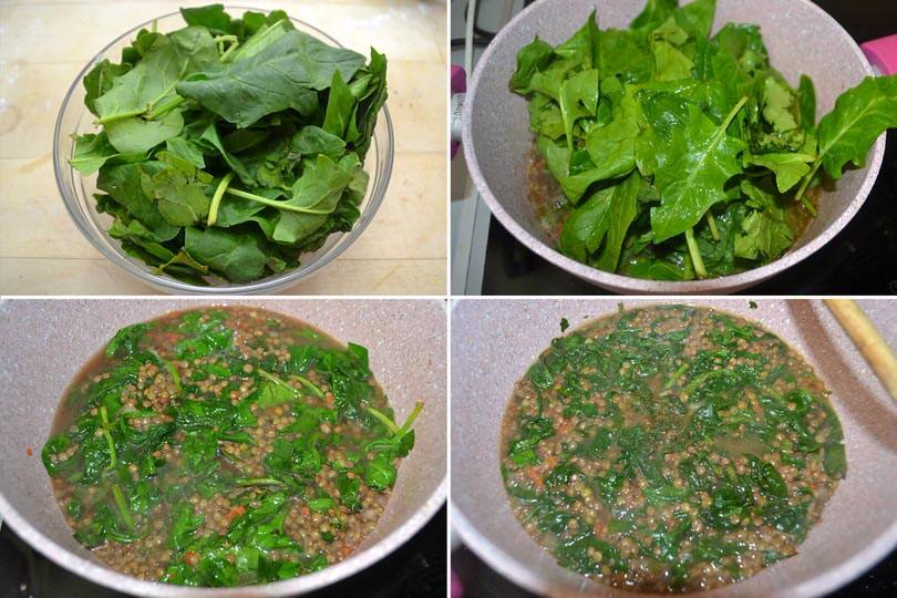 4 aggiungere spinaci