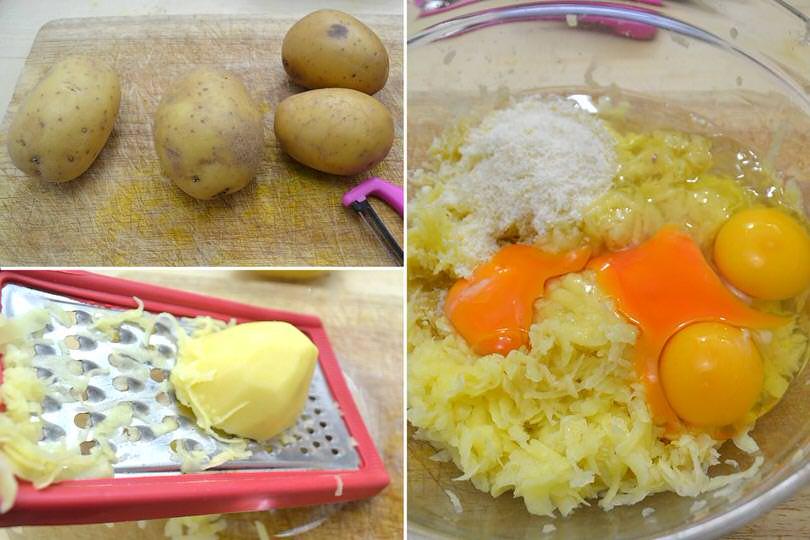 1 pelare le patate e grattugiarle