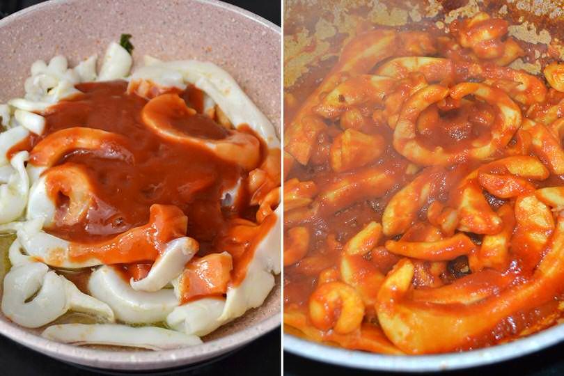 2 aggiungere pomodor e cuocere