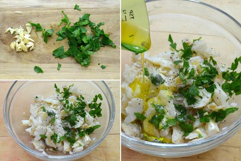 3 aggiungere aglio prezzemolo olio