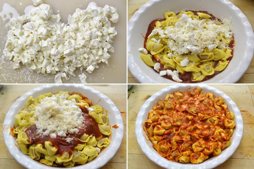 3 aggiungere mozzarella e parmigiano