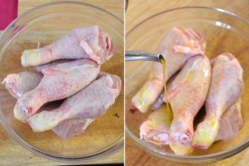 1 cosce di pollo e olio
