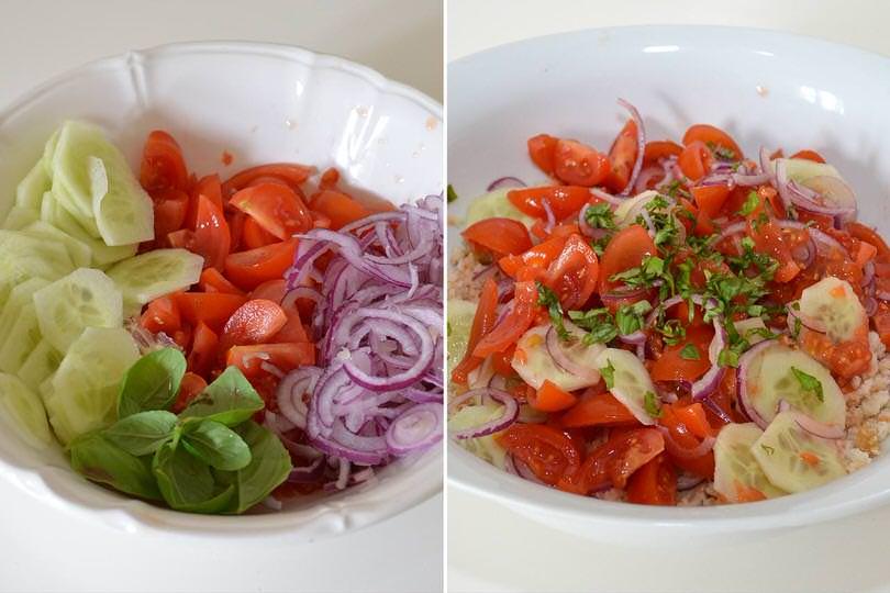 2 aggiungere pomodori e cipolla