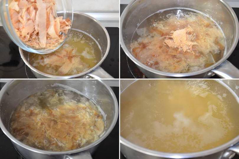 3 cuocere e filtrare brodo