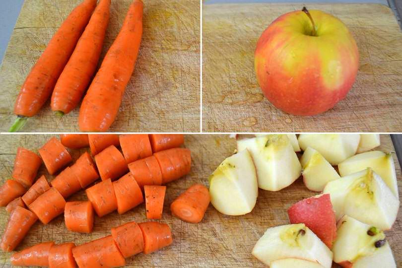 1 tagliare carota e mela