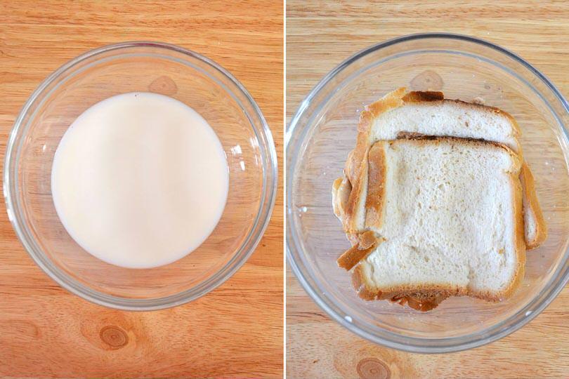 2 ammorbidire pane nel latte