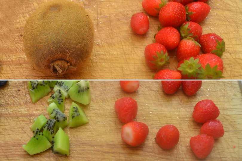 1 tagliare kiwi e fragole