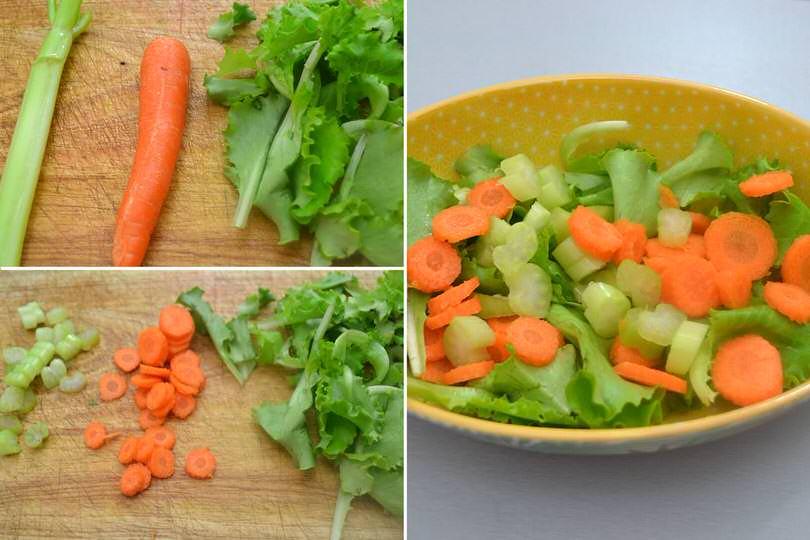 1 tagliare sedano e carote