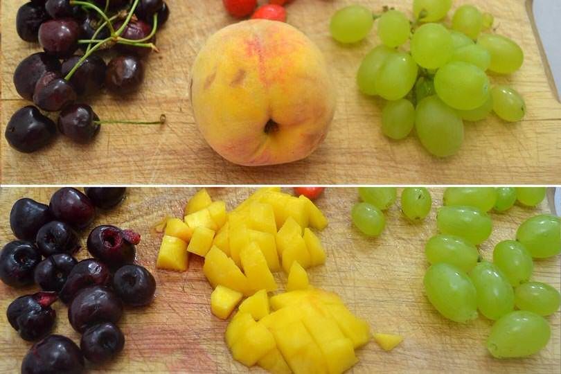 2 tagliare pesca ciliegie uva