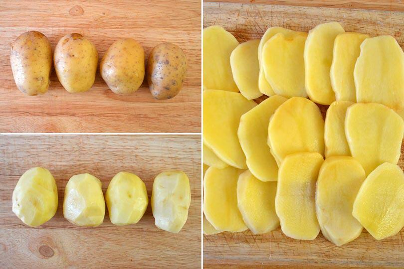 1 sbucciare e tagliare patate